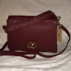 NEW! Emma Fox Burgundy Leather Handbag